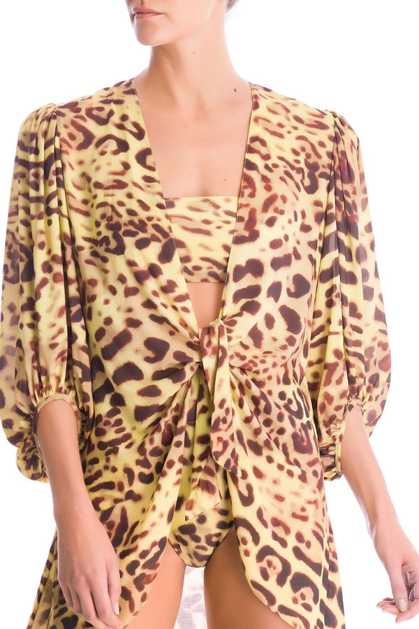 This Leopard shirt is made from lightweight viscose and is perfect for Tropical vacations- the exotic print and colors are inspired by elements from Brazilian fauna