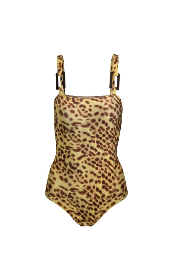 This modern meets vintage style swimsuit is crafted from stretch fabric with acrylic buckle details. Its perfect for poolside with matching pareo skirt