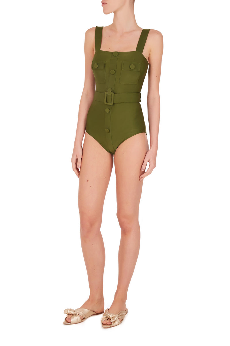 Safari Solid Swimsuit with Buttons