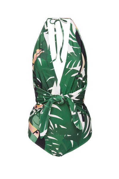 Geometric Foliage Halterneck Swimsuit