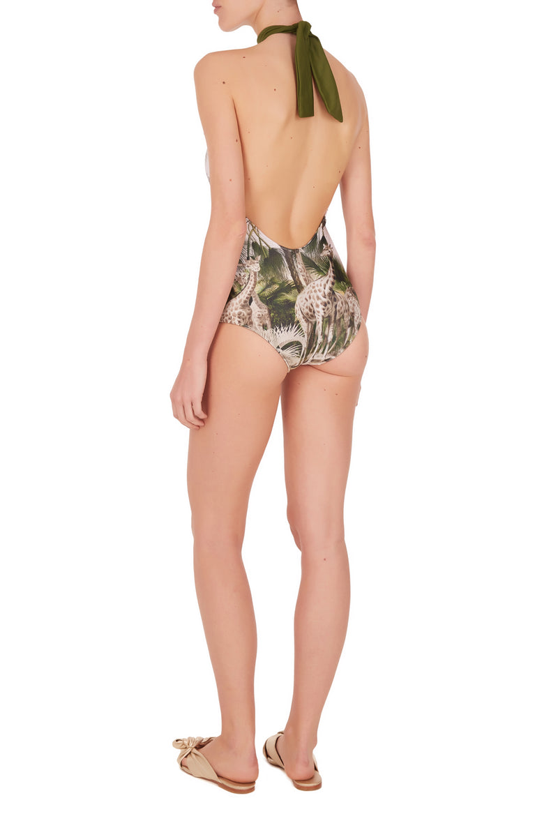 Safari Halterneck Swimsuit with Knot