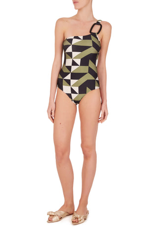 Geometrique One Shoulder Swimsuit with Hoop