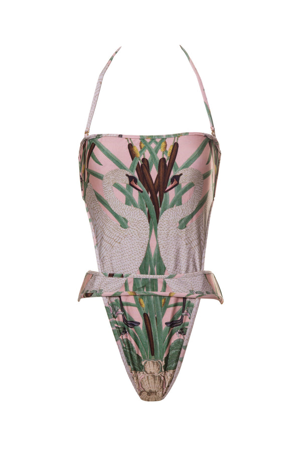 With innovative shapes, this daring swimsuit is all-over printed with our exclusive symmetric Art-Nouveau Swan. Features a high V-cut and an overplaced waistband at front