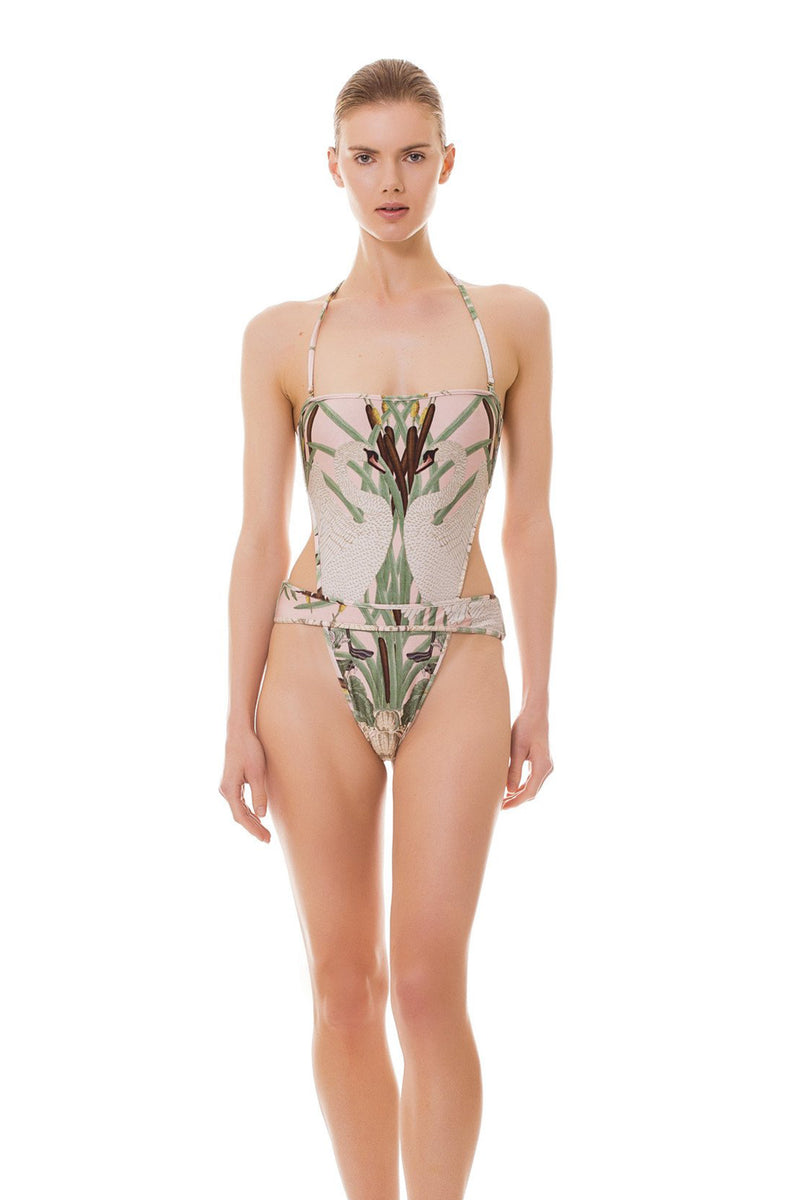 Nouveau Swan V-Cut Strapless Swimsuit