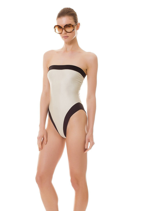 Bicolor Strapless Swimsuit