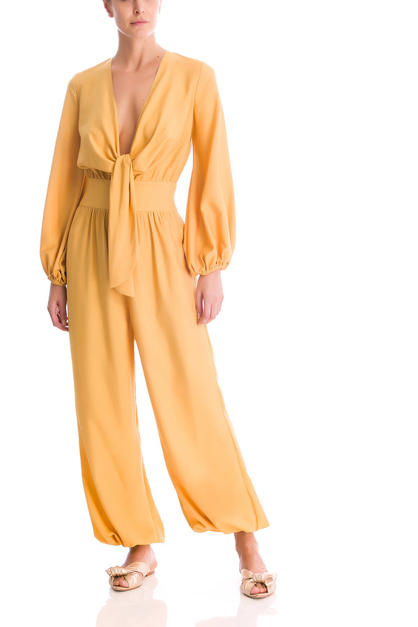 Solid Jumpsuit With Knot