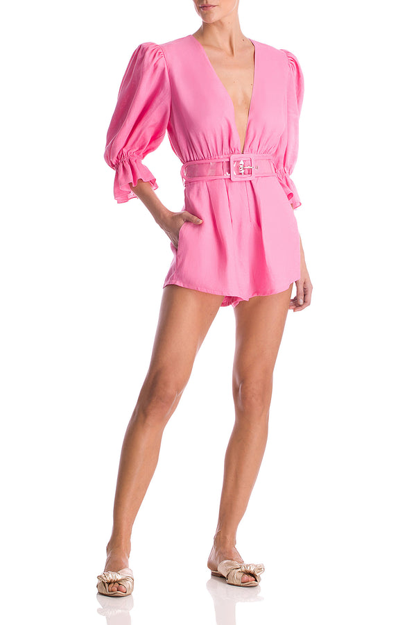 Flore Solid Playsuit With Belt