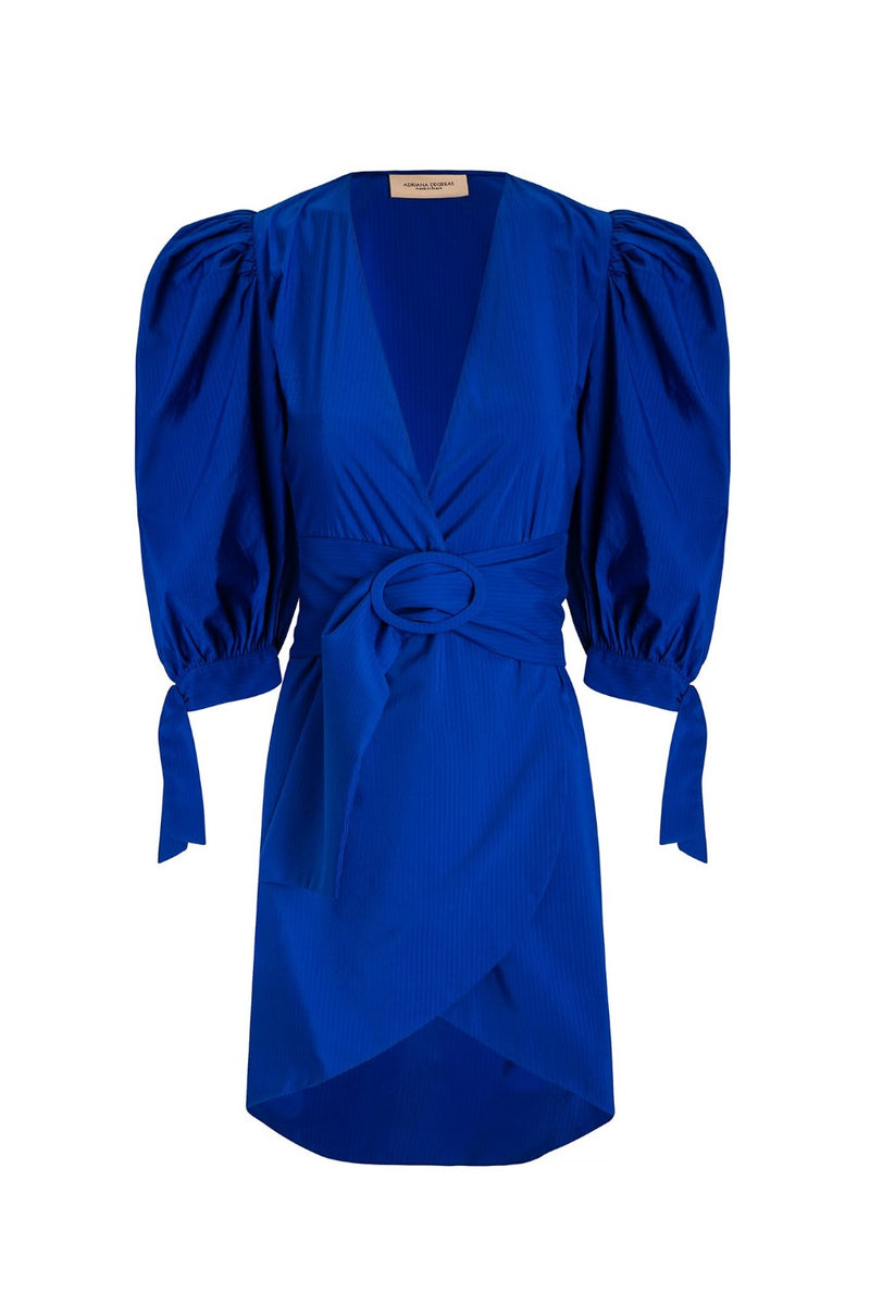 Perfect for a party or event, this blue dress is made of cotton and the silhouette is fitted with a matching belt