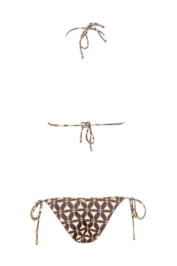 Our exclusive Martini Glass print in its black version is featured in this triangle top bikini