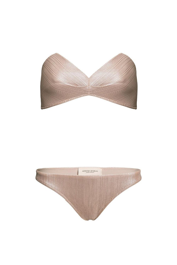 This bikini set with structured top is made of stretch fabric and is a modern interpretation of classic 1950´s shapes