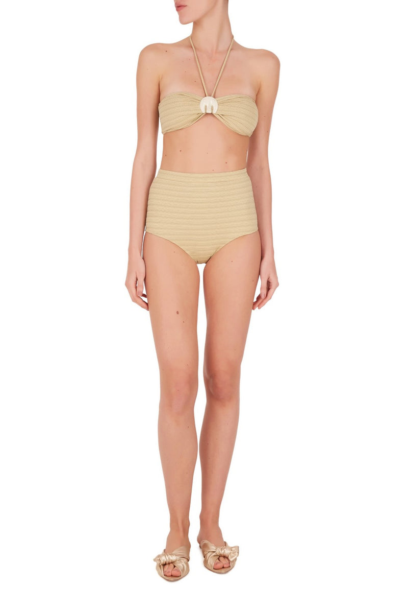 Inspired from vintage jewelry from old century this top bandeau bikini and high waist briefs is embellished with a chic elephant resin detail