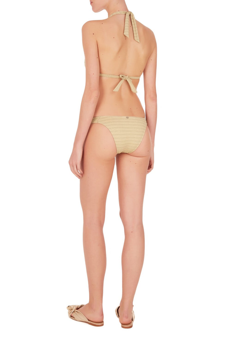 This long triangle set bikini with low-rise briefs is embellished with elephant resin detail and offer moderate coverage