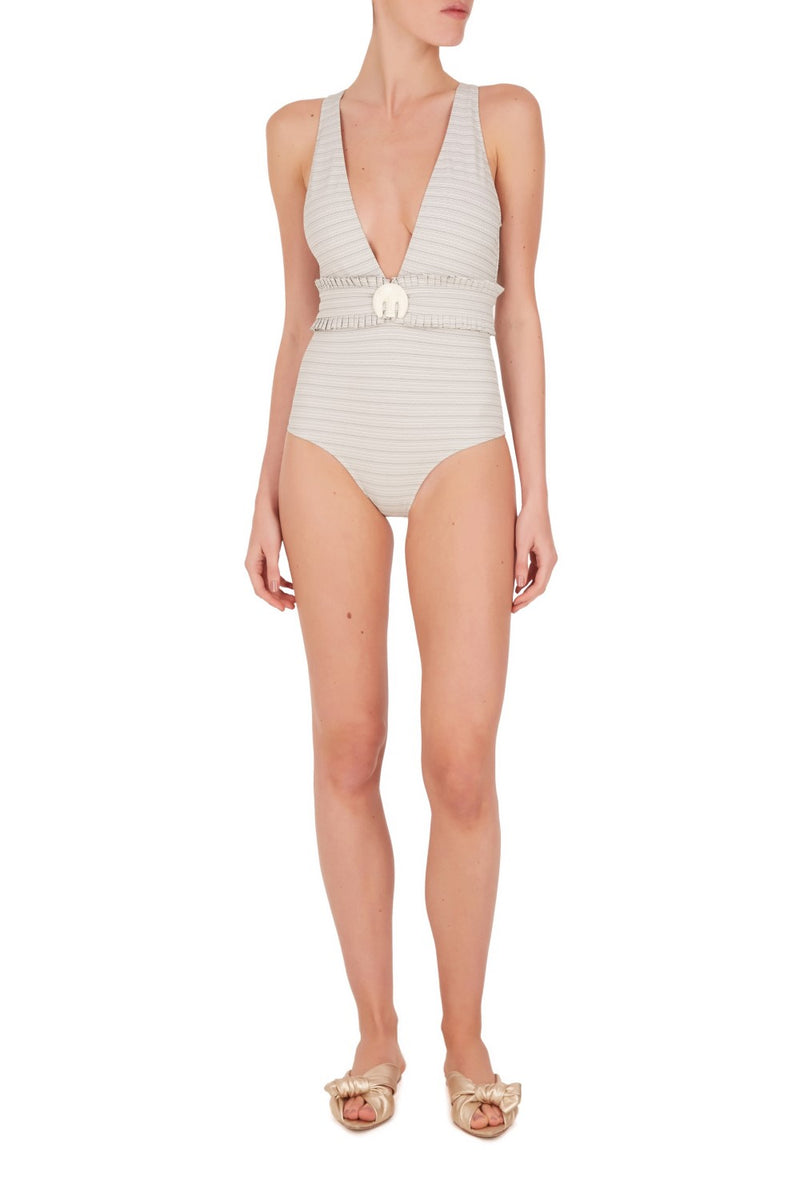 Made from stretch jacquard fabric, this swimsuit comes with a matching belt embellished with an elephant resin detail inspired from vintage African jewelry