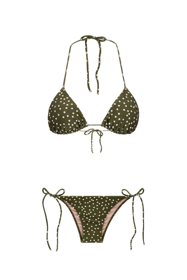 This classic Mille Punti bikini is crafted in Brazil with a triangle-shaped top with removable padding and tie-side bottoms