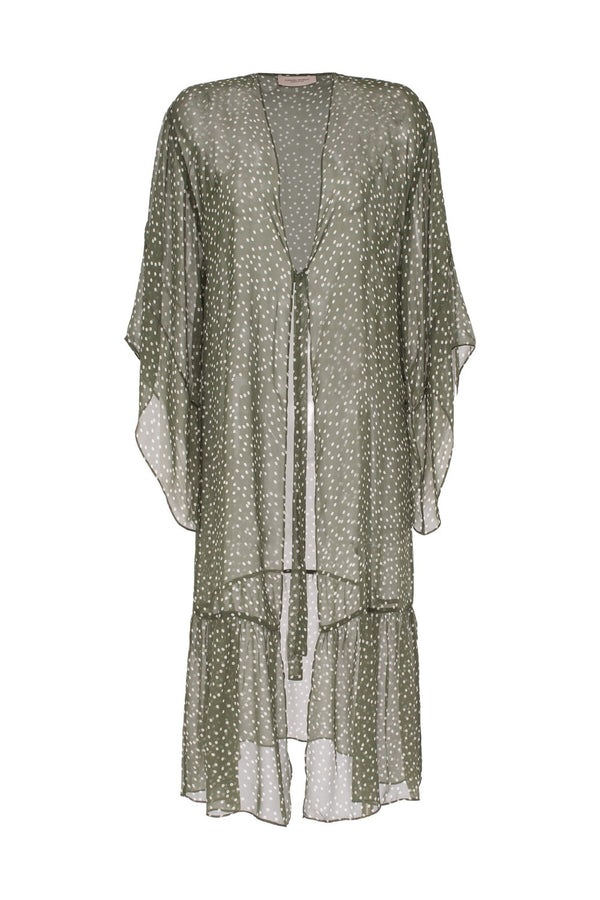 This feminine and classic robe is decorated with green and off-white pois print and is crafted with lightweight silk