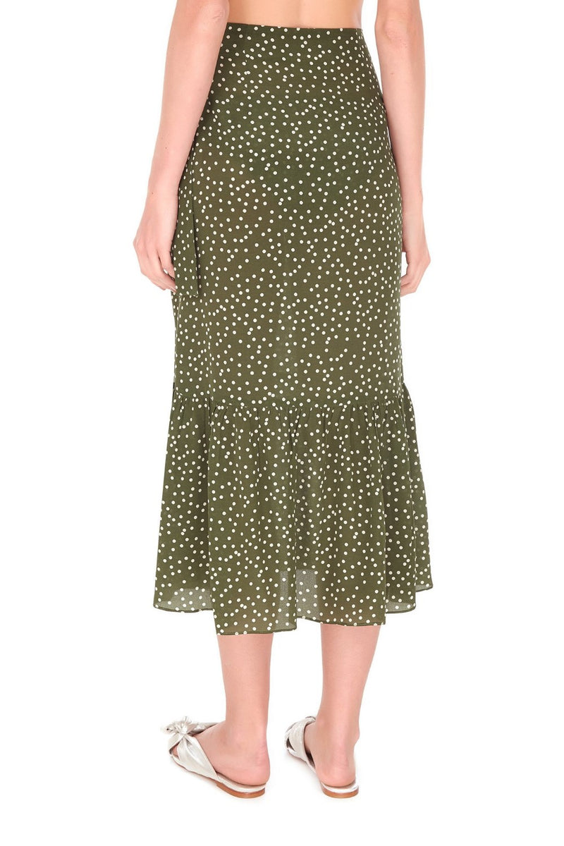 This midi skirt is cut with sheer silk and falls to a fluid midi hem with ruffles