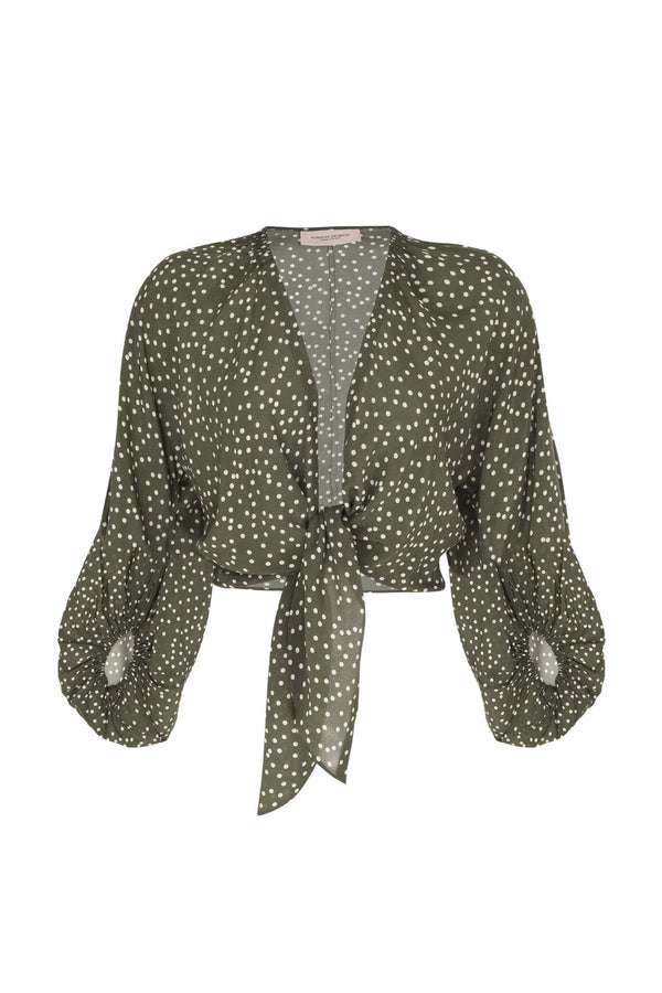 This effortless chic style blouse has ties at the waist deep V-neck and elasticated cuffed sleeves
