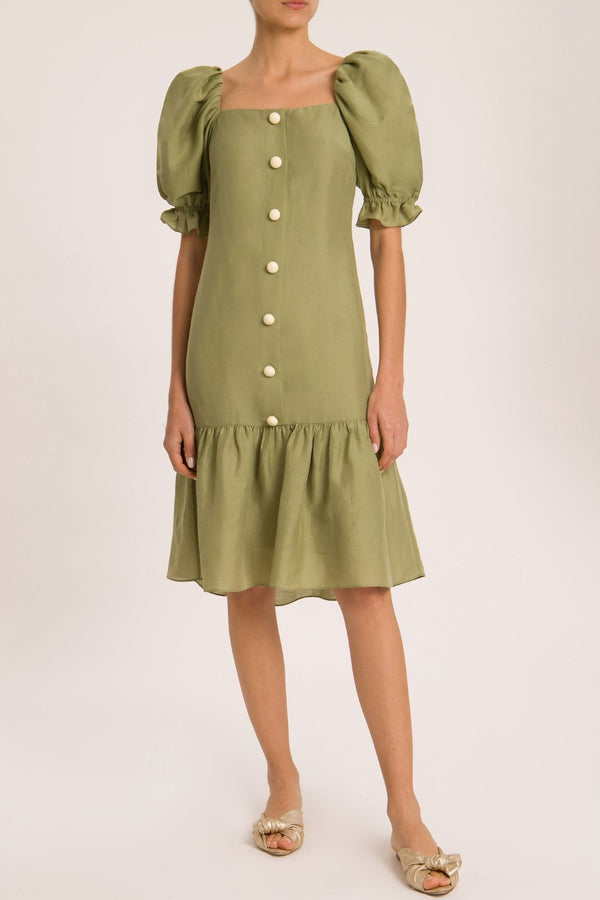 Adriana degreas´modern elegance is captured by this midi dress crafted with linen blend and cut to a loose shape. We love the acrylic buttons for a vintage style appeal