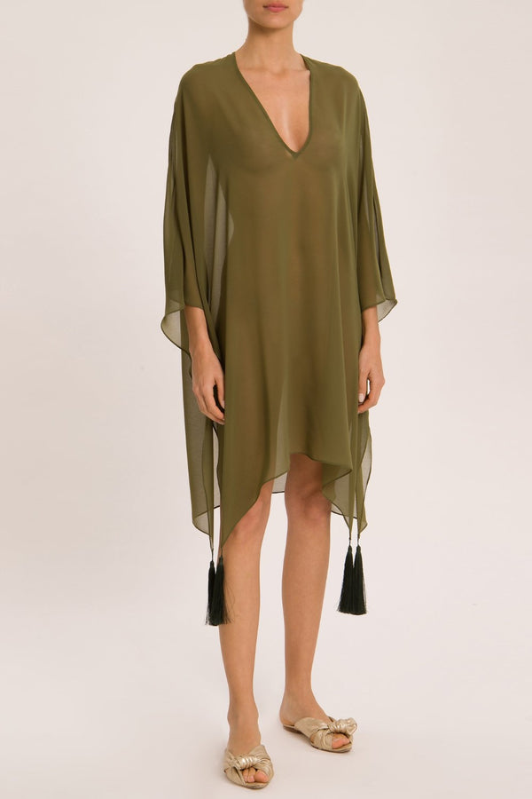 Muguet Solid Short Kaftan With Tassel