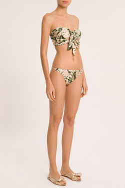This strapless bikini  has a contemporary feel with vintage influences- it features a sweetheart neckline and feminine tie-front