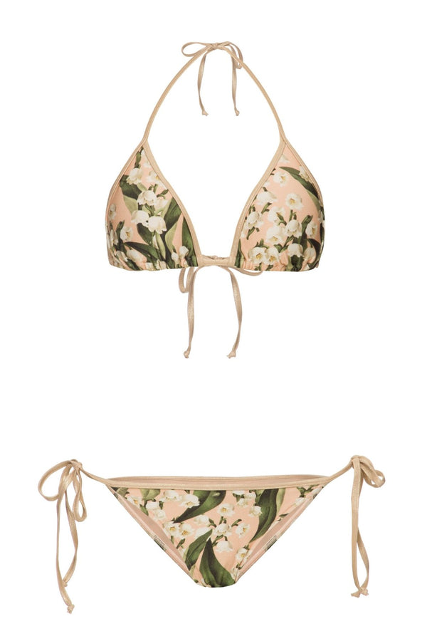 The triangle bikini is a classic piece that has tie fastenings at the neck, back and sides for a personalized fit