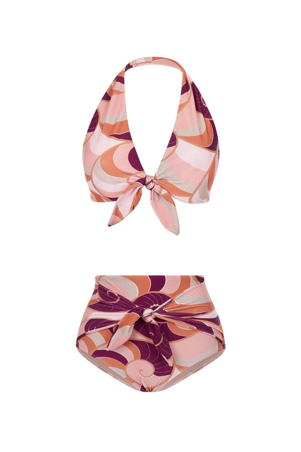 This halterneck bikini top can be tied at the front for your perfect fit- the bottoms feature side panels that can be knotted at the front