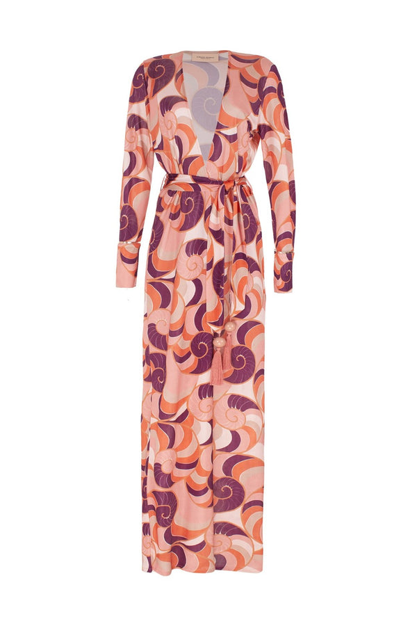 The wrap effect of this Nautilus printed robe draws attention to your waist – cinch it with the detachable matching belt
