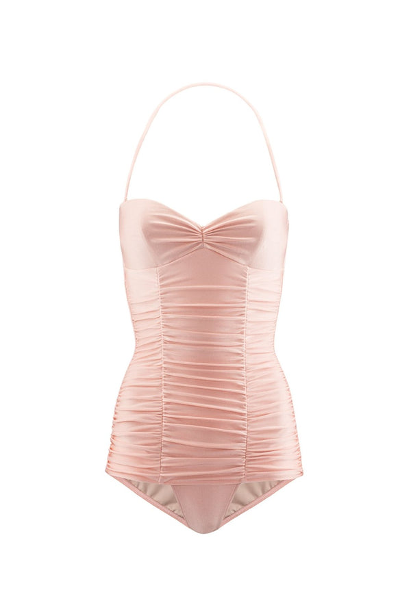 This swimsuit is crafted from sculpting stretch fabric and shaped with padded cups to create a sweetheart neckline inspired by glamorous silhouettes from the '50s