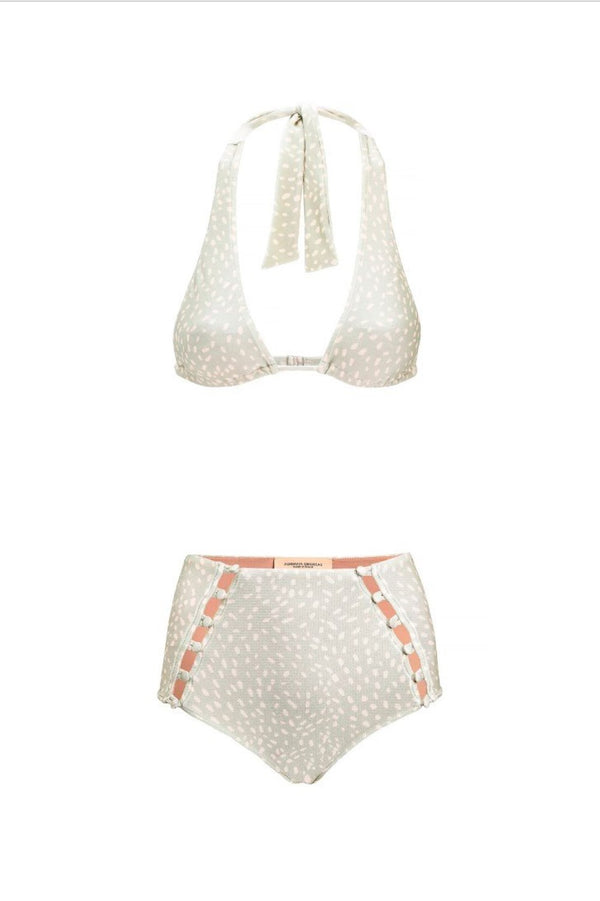This long triangle halterneck bikini top comes with a removable padding resin buttons details in the front
