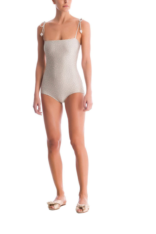 This elegant and new vintage style swimsuit is shaped  to a square-neck silhouette and with self-tie shoulder straps