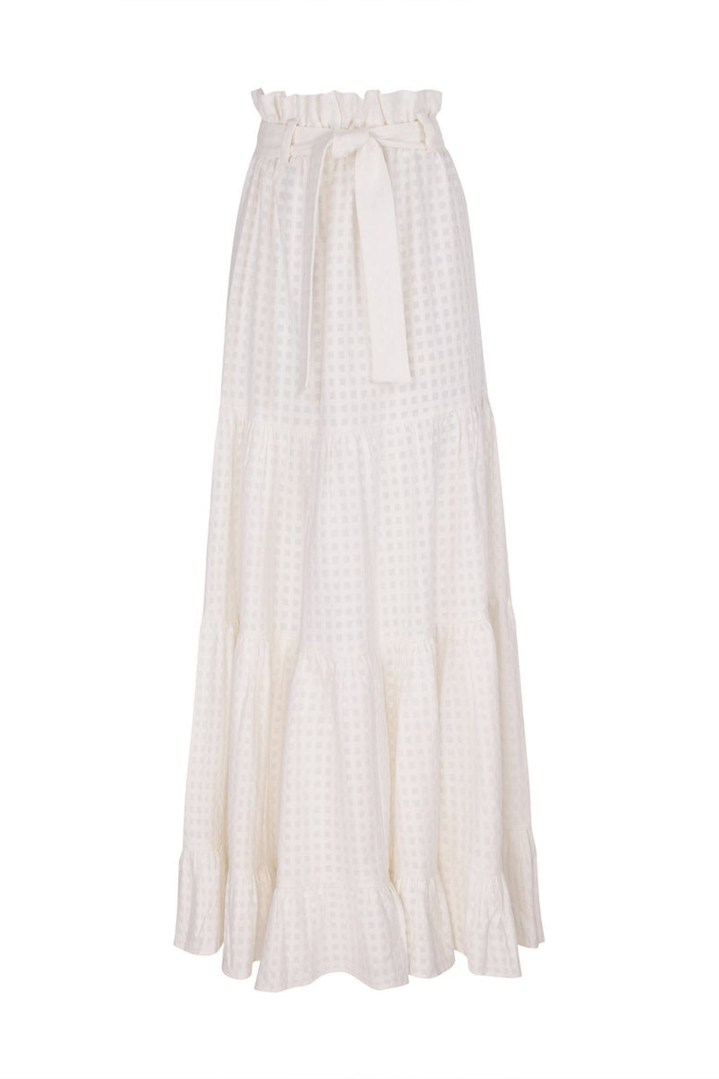 This long clochard skirt is cut from linen and inspired by landscapes from Italian city Portofino