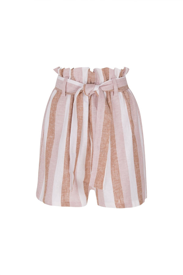 These clochard shorts have an adjustable waist tie that creates flattering bag effect. This high-rise pair is made of linen printed with Portofino tones of rosé and terracotta