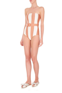 Inspired by famous movies styles like Bong girls, this strapless swimsuit has a square neckline and a belt at the waist to cinch your figure