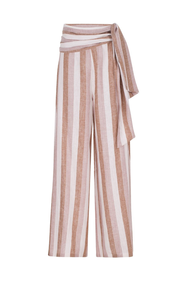 These linen pants have an extra-long wide leg and can be worn poolside with a matching bikini and slides to balance the loose-fit