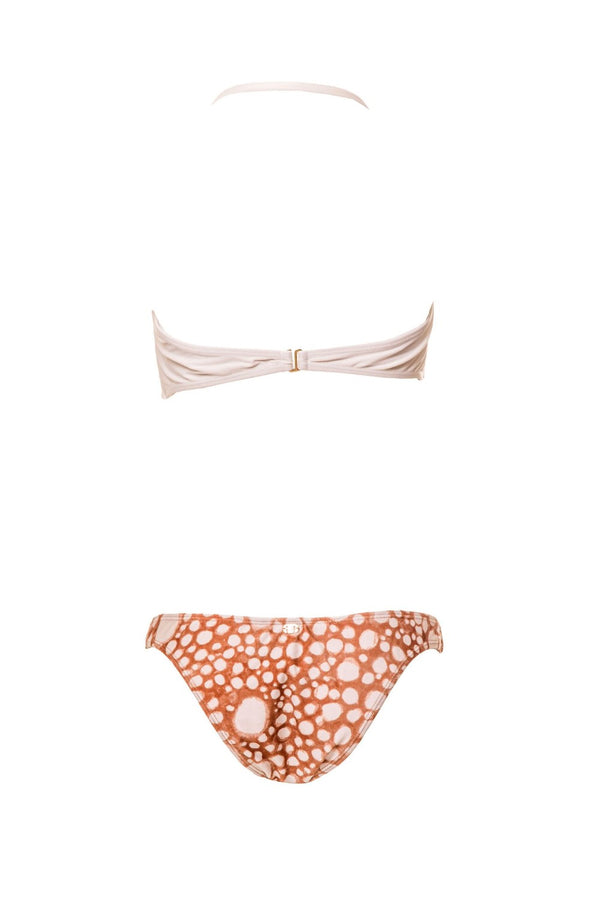 Mixing plain and printed fabrics, this bikini set features a dainty golden mandala on top and all-over printed briefs with our exclusive hand-painted Ray Fish print, inspired by stingray's skin pattern