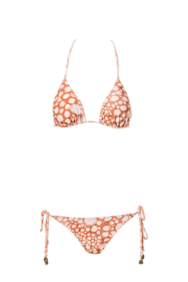 This triangle top bikini features our exclusive hand-painted Ray Fish print, inspired by stingray's skin pattern