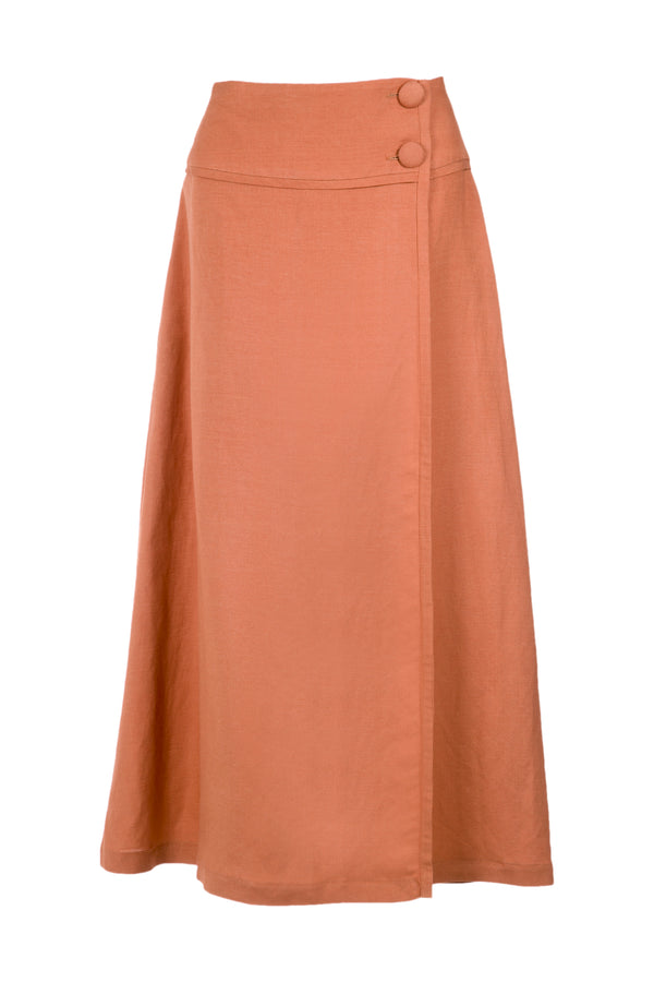 Tropiques Midi Skirt with Side Buttons