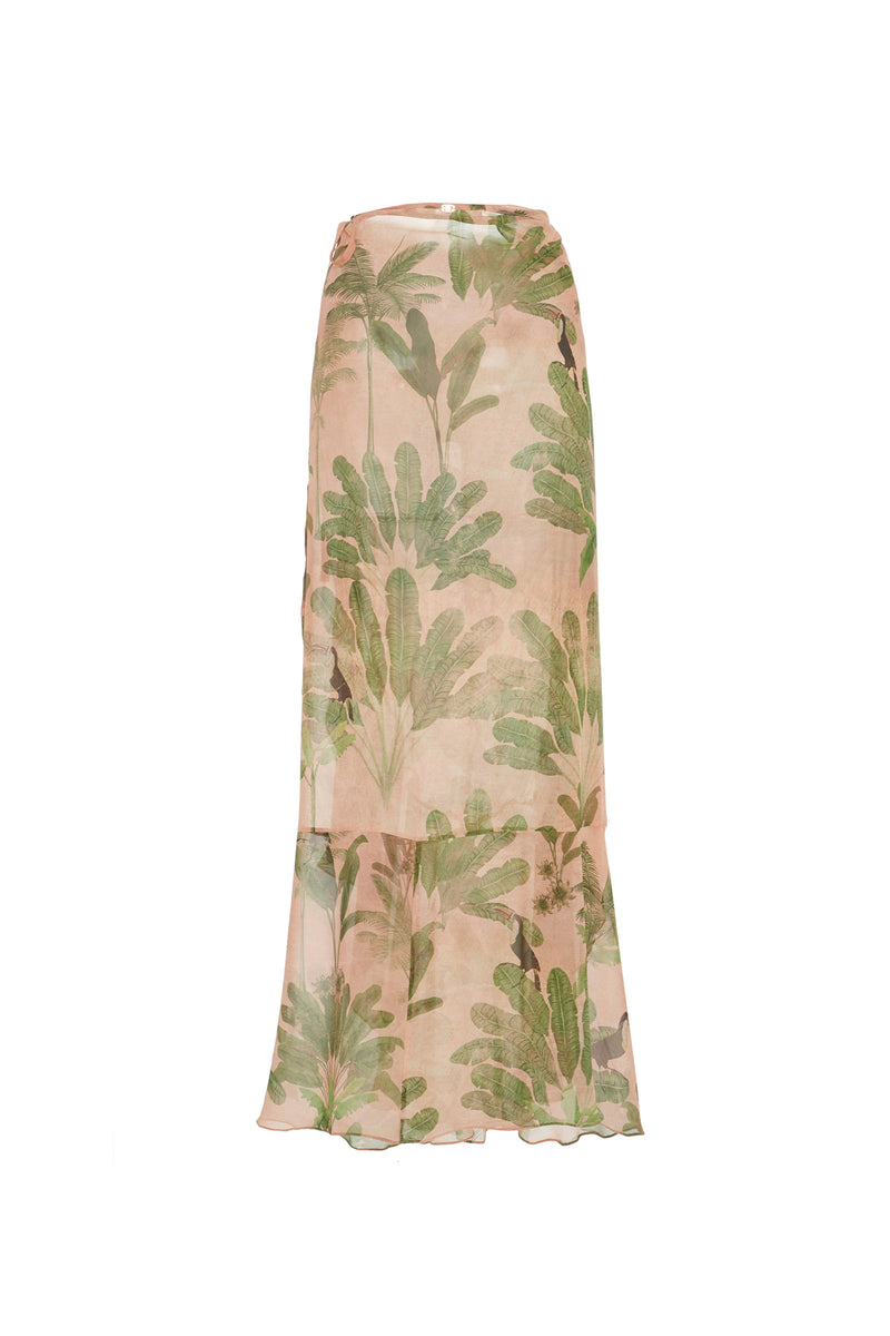 Toucan Print Pareo Long Skirt With Ruffles