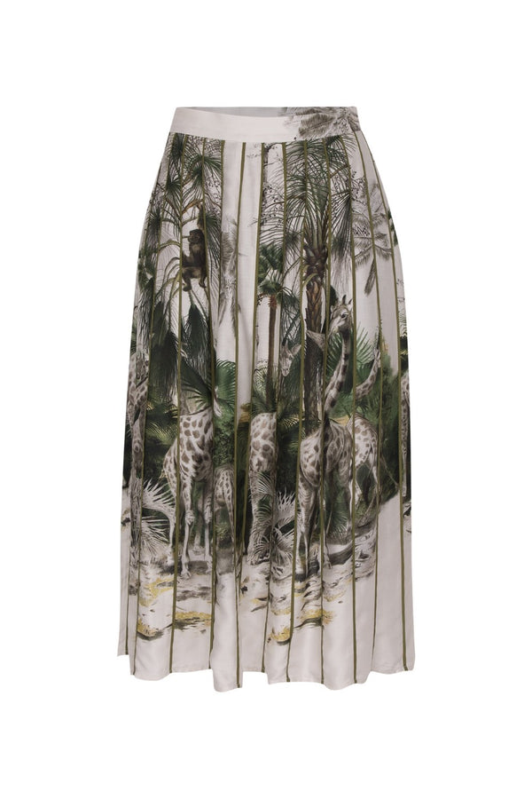 This viscose silk blend pleated skirt is printed with vintage illustrations of African fauna and flora
