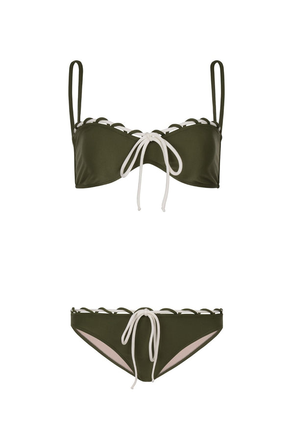 This retro style and feminine bikini is cut from stretch fabric with a drawstring tie detail