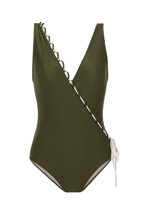 This classic style and elegant Safari swimsuit is cut in a flattering wrap-effect silhouette from stretch fabric with a drawstring tie detail