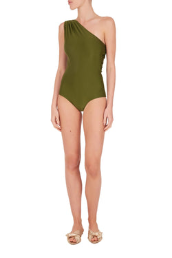 Retro style and timeless one-shoulder swimsuit is cut from stretch fabric with a ruched strap and asymmetric back