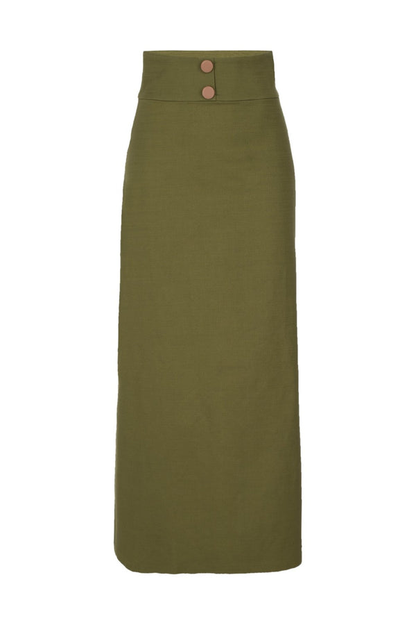 This military style skirt with decorative buttons is a nice option for casual lunch date with a coordinating shirt