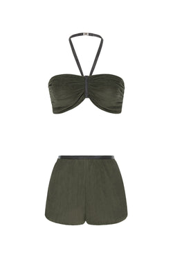 Think about effortless chic pieces like this halterneck pleated top bandeau and shorts for your next summer wardrobe