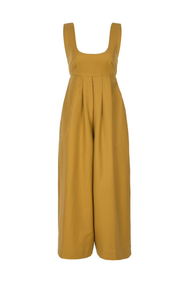 Look for smart and versatile resort pieces like this jumpsuit made from cotton, self-tie back straps and loose culotte legs