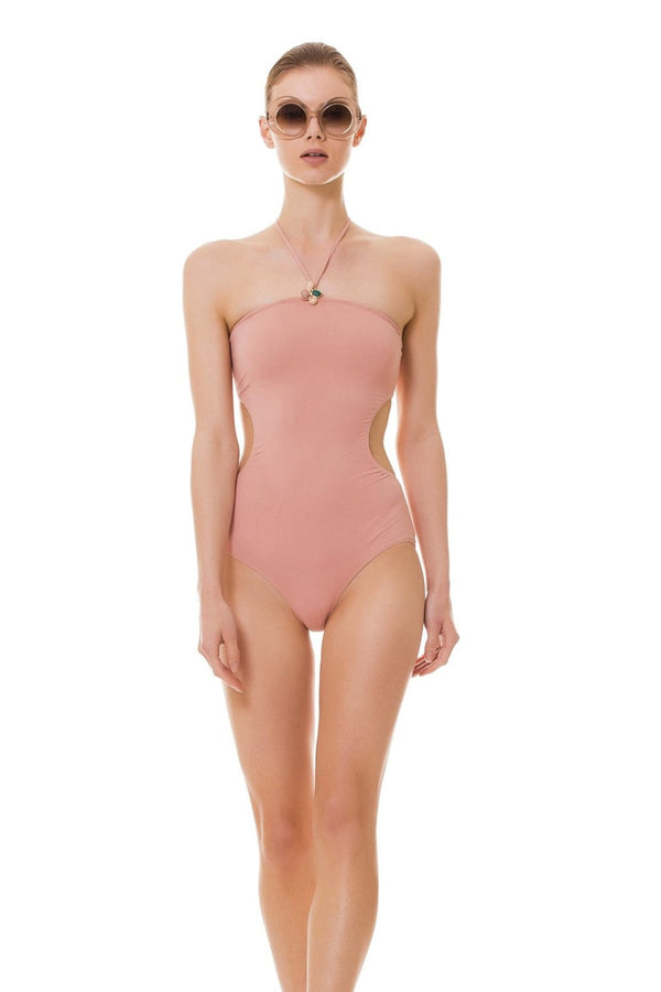 A flower-shaped stone embellishment adds a delicate touch to this plain pink halterneck swimsuit. Side cut-outs help to flatten your silhouette