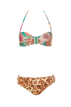 This bandeau bikini set mixes two of our exclusive prints - Leopard and Sea Biscuit - , giving the idea of a mix-and-match set. Features a bandeau top with green stone and briefs with side ruched