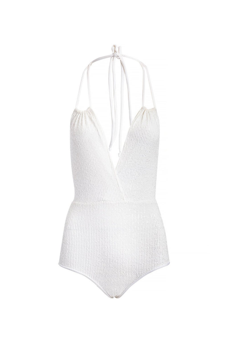 This Sequin halterneck swimsuit is made of stretch fabric and we love it to be worn poolside and beyond
