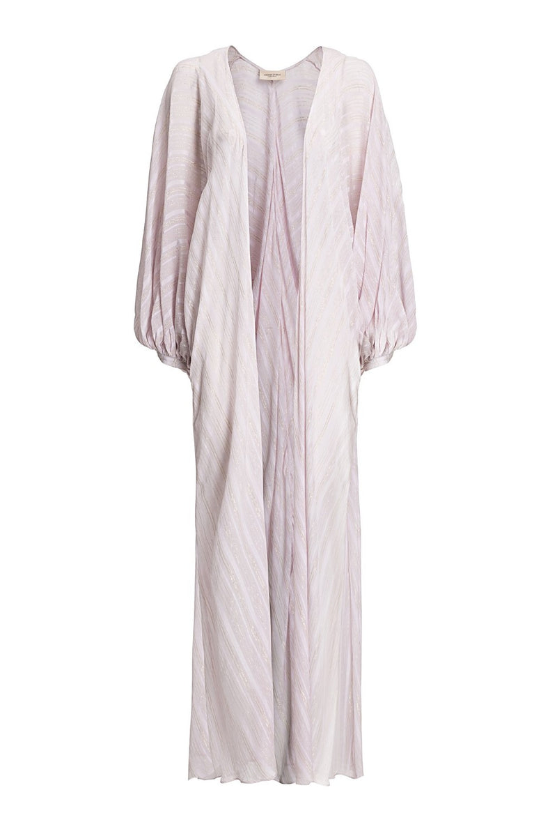 This elegant cover-up s made from silk and shaped with a front tie and deep V-neckline