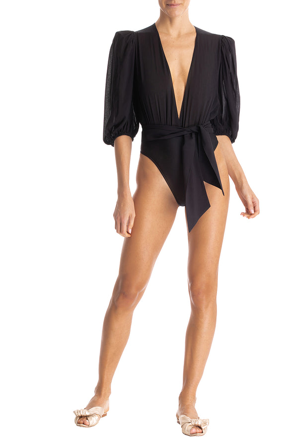 Solid High-Leg Bodysuit With Belt